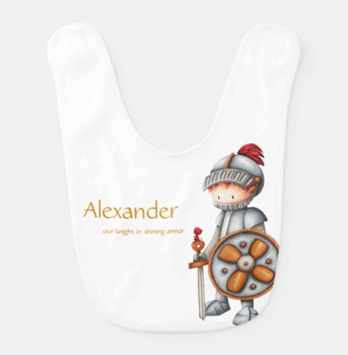 Knight in shining armor baby bib