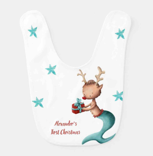 Cute Mermaid Reindeer First Christmas Personalized baby bib