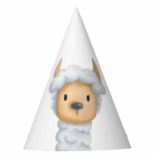 Cute llama head white birthday Party Hat