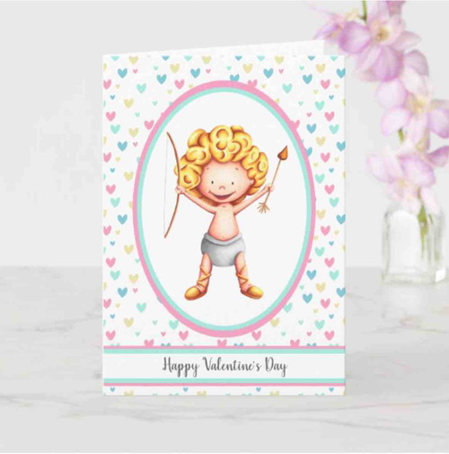 Happy Valentine's Day Cute Cupid Smiling Card