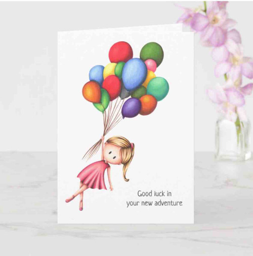 Farewell Girl with balloons Card