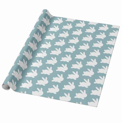 Teal and white rabbit easter gift wrapping paper