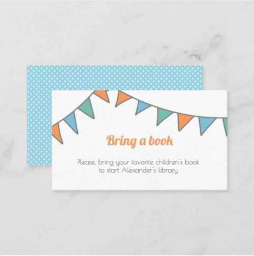 Minimalist bring a book with a party garland enclosure card