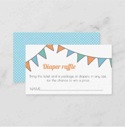 Diaper raffle ticket with a party garland enclosure card