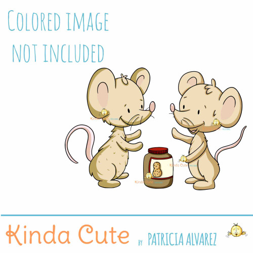 Mice and Peanut Butter Digital Stamp