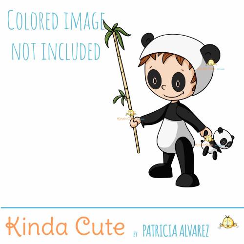 Kid with Panda Bear Costume Digital Stamp