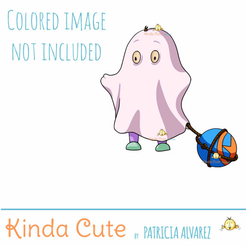 Kid in a Ghost Costume digital Stamp colored for reference only. The image is a child with a bed sheet and a rubber ball as a prison ball.