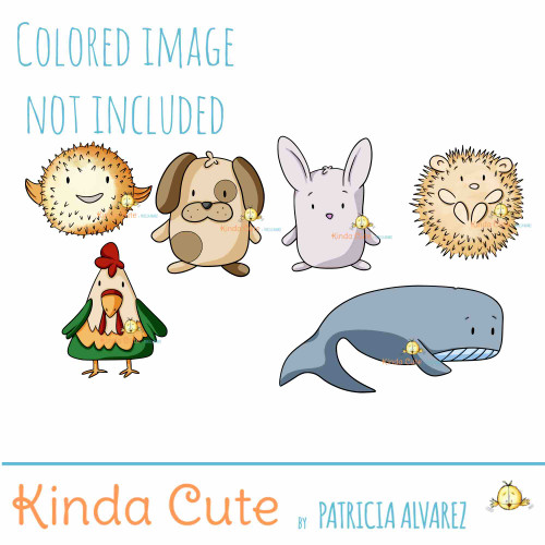 Cute Shaped Animals 2 colored only for reference. This set includes a puffer fish, a dog, a rabbit, a hedgehog, a rooster and a whale.