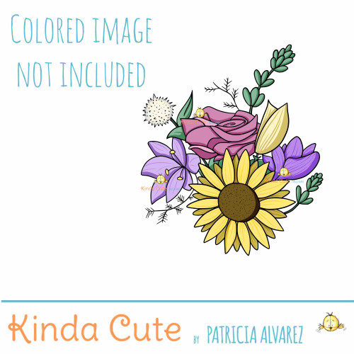 Flower bouquet digital stamp colored for reference. The bouquet has seven floral elements to color.
