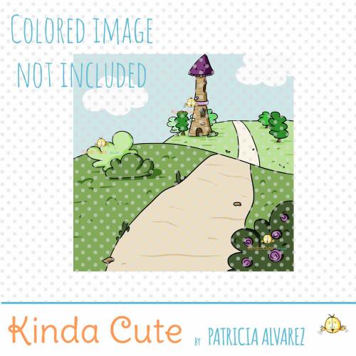 Princess Tower Background Digital Stamp