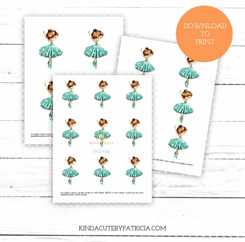 Ballerina with Teal Dress Colored Printable Pages