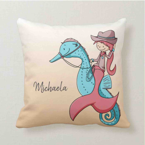 Red and Teal Cowgirl Mermaid on Seahorse Custom Throw Pillow