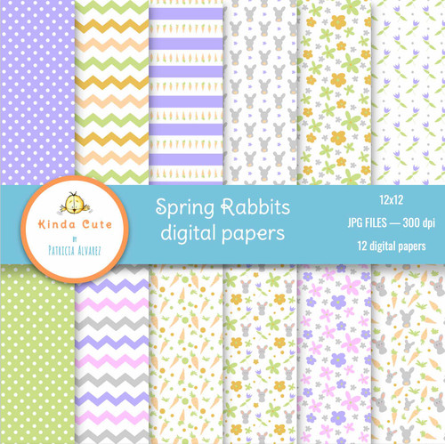 Spring Rabbits Digital Paper Set