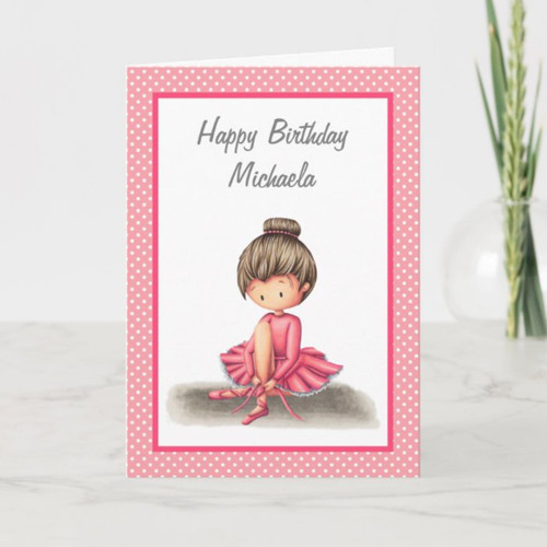 Ballet Dancer in Pink Dress Personalized Birthday Card