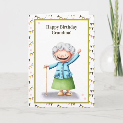 Happy Old Lady Grandmother Personalized Birthday Card