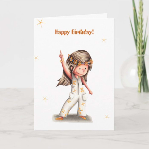 Hippie Girl Disco Dancing Personalized Birthday Card