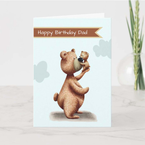 Dad Bear with Cub Father Personalized Birthday Card