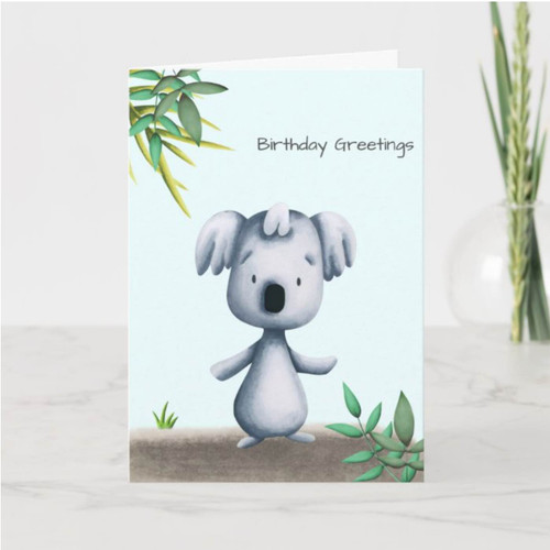 Cute Koala Bear Drawing Personalized Birthday Card