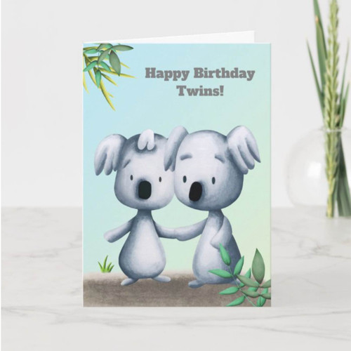 Koala Bear Drawing Personalized Birthday Twins Card