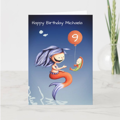 Mermaid and Fish with Balloon Kids Birthday Card