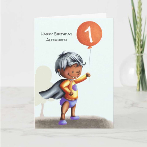 First Birthday Baby in Diapers Age Personalized Card