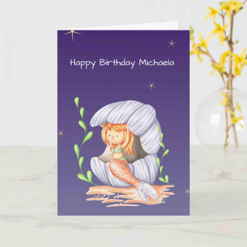 Elegant Mermaid Drawing Personalized Birthday Card