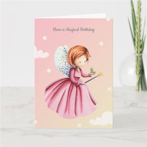 Fairy Princess with Frog Personalized Birthday Card