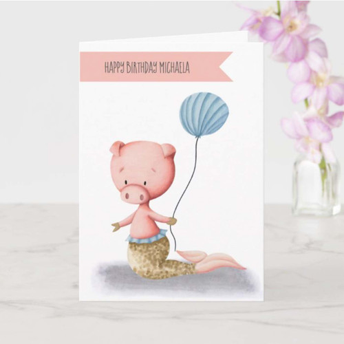 Cute Pig Mermaid with Balloon Minimalist Birthday Card
