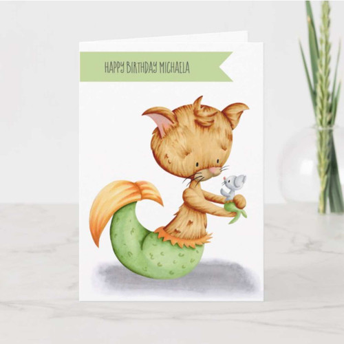 Cute Cat Mermaid with Mouse Mermaid Birthday Card