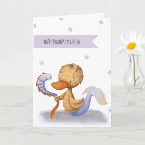 Cute Mermaid Duck with Eel Whimsical Birthday Card