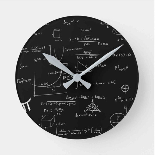 Black and white math equations academic Round Clock