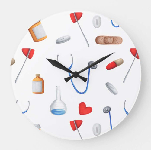 Cute Medical Equipment Doctor or Nurse Large Clock