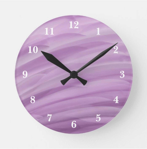 Shade of Purple Waves Painted Effect Round Clock