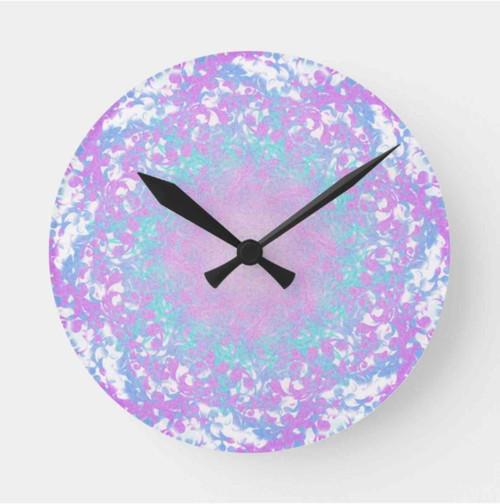 Cute Purple and Blue Retro Round Clock
