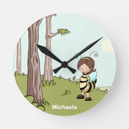 Illustrated Bee Themed Personalized Nursery Round Clock