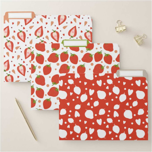 Cute Strawberries Red and Green file folders