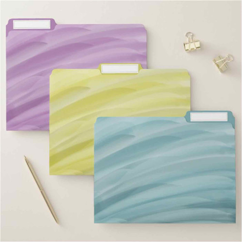 Elegant Purple, Yellow and Blue Waves File Folder