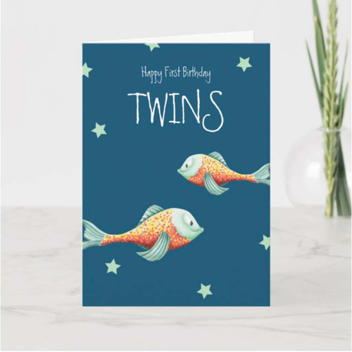 Happy Birthday Twins Happy Fish Birthday Card