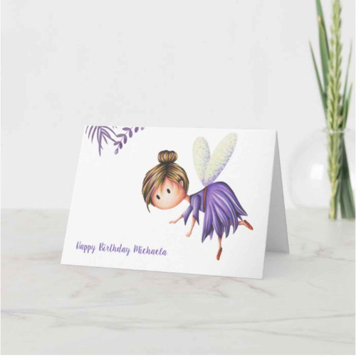 Minimalist Cute Art Fairy Birthday Card