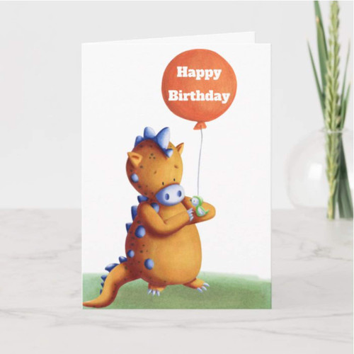 Happy Birthday Orange Dragon with Green Bird Card