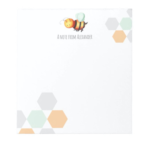 Pastel Hexagons and Honey Bee Personalized Notepad