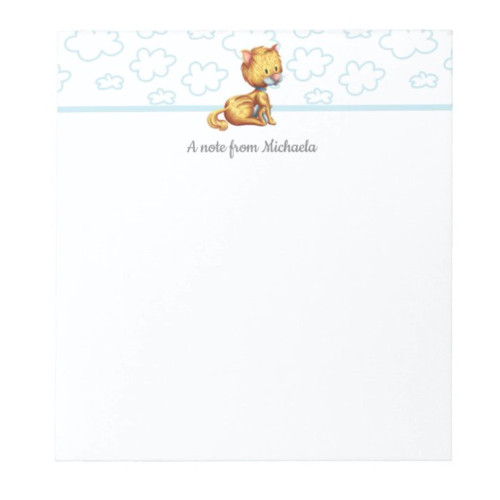 Minimalist Orange Cat Personalized Notepad