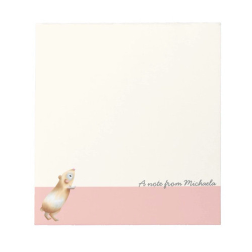 Minimalist Pink and Cream Hamster Personalized Notepad