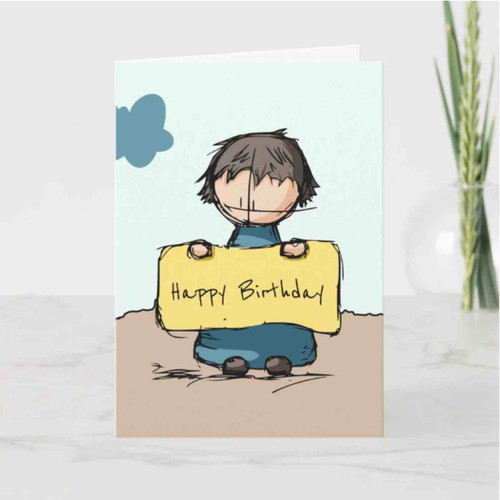Cute Sketch Boy with a Sign Happy Birthday Card
