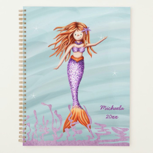 Whimsical Red Haired Mermaid with Purple Tail Planner