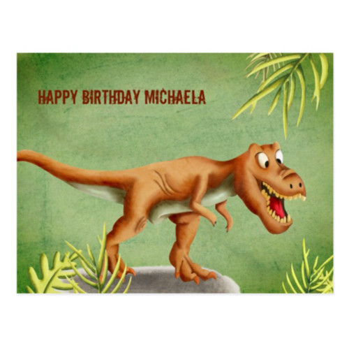 Personalized Cute T-Rex Dinosaur Happy Birthday Postcard