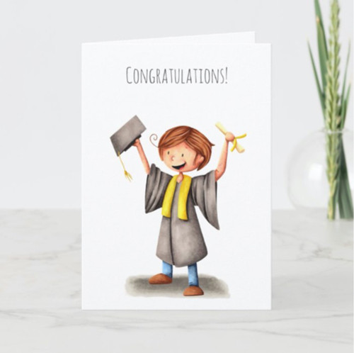 Cute Graduate Celebrating Congratulations Custom Card