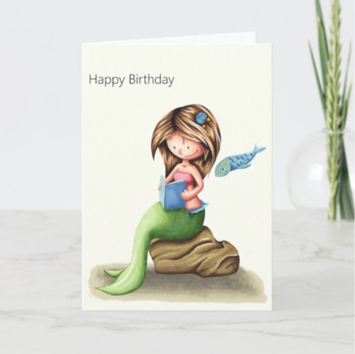 Cute Mermaid Reading Personalized Happy Birthday Card