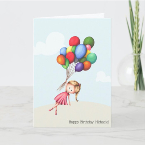 Personalized Girl holding Balloons Happy Birthday Card