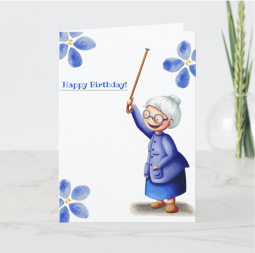 Blue watercolor flowers grandma with cane birthday Card